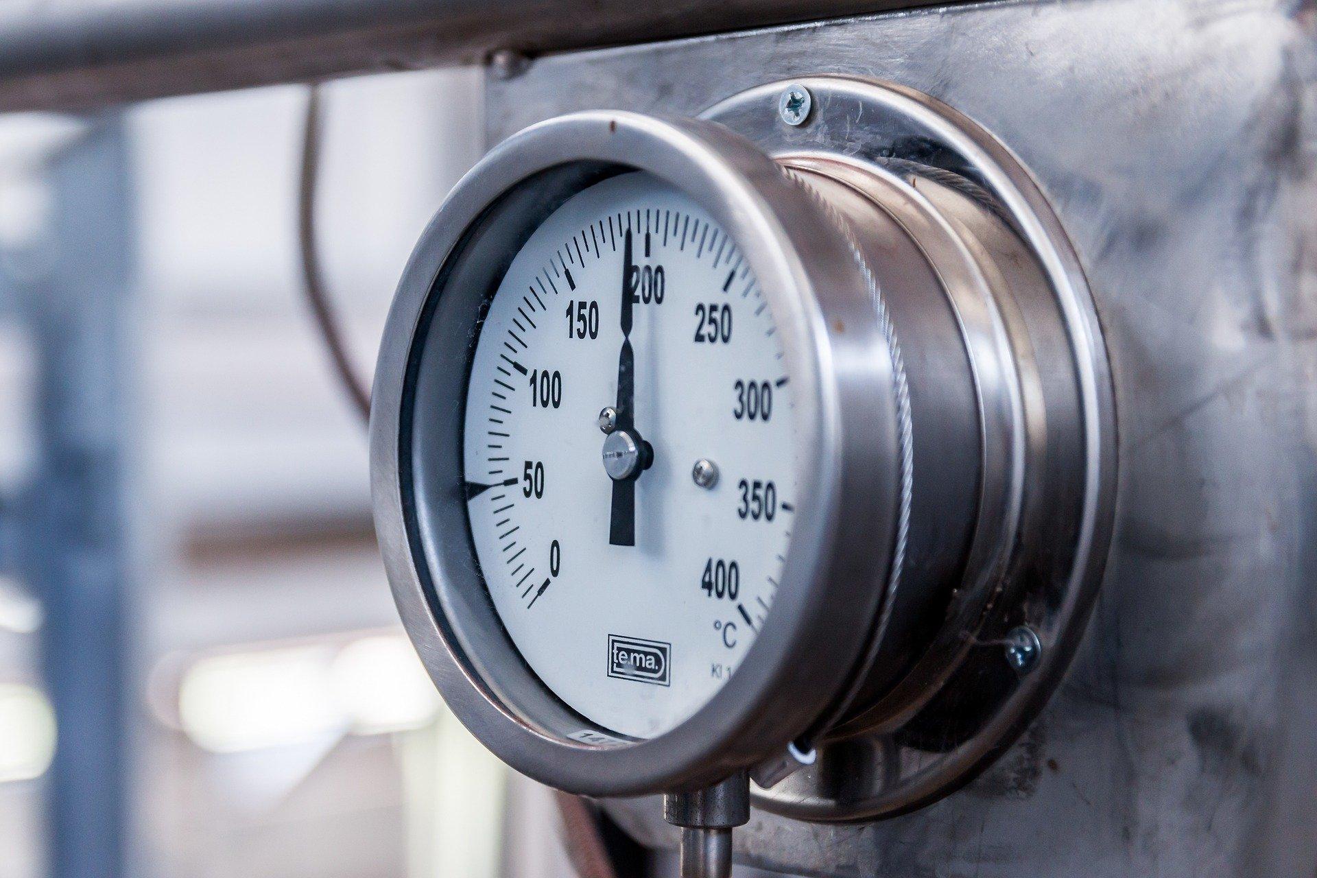 pressure gauge of boiler at home